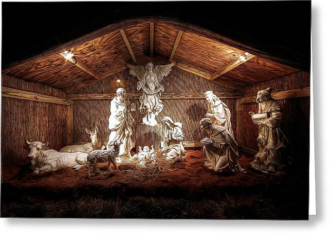 Glory To The Newborn King Greeting Card by Shelley Neff