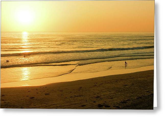 Glossy Gold And Surfers - Sunset On The Beach In California Greeting Card by Georgia Mizuleva
