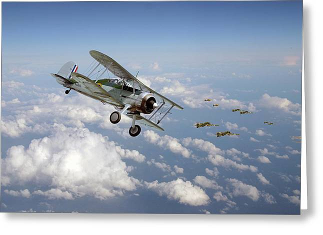 Greeting Card featuring the digital art  Gloster Gladiator - Malta Defiant by Pat Speirs