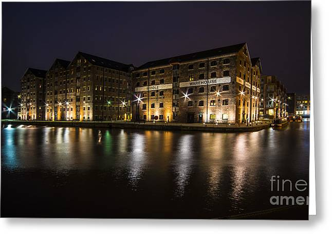 Gloucester Docks By Night  Greeting Card by Rob Hawkins