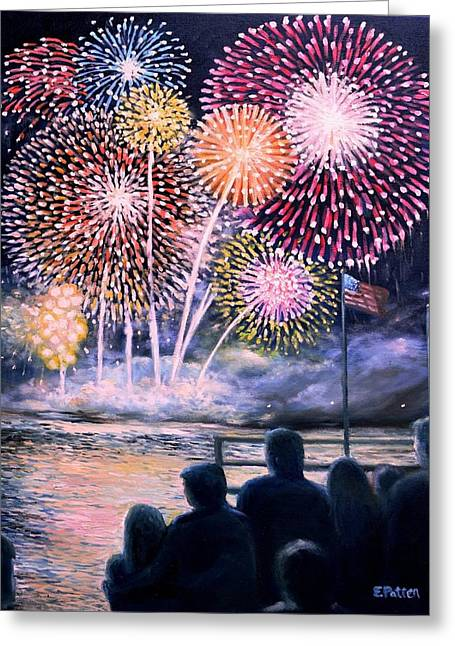 Gloucester Fireworks  Greeting Card by Eileen Patten Oliver
