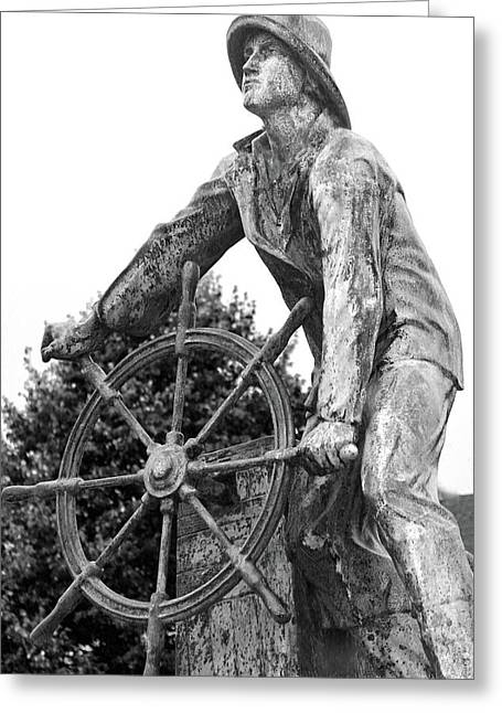 Greeting Card featuring the photograph Gloucester Fisherman's Memorial by Mitch Cat