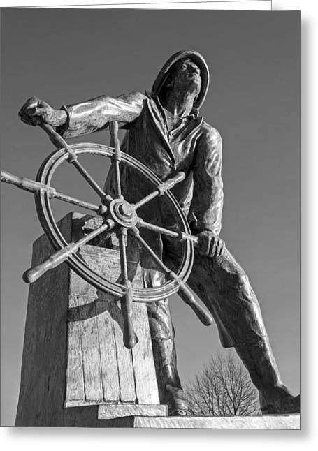 Gloucester Fisherman's Memorial Statue Black And White Greeting Card