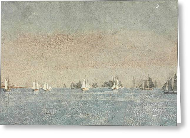 Gloucester Harbor Fishing Fleet Greeting Card by Winslow Homer