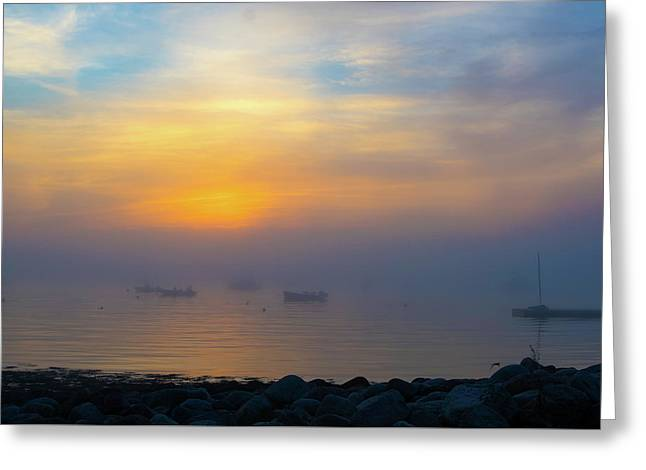 Gloucester Harbor Foggy Sunset Greeting Card