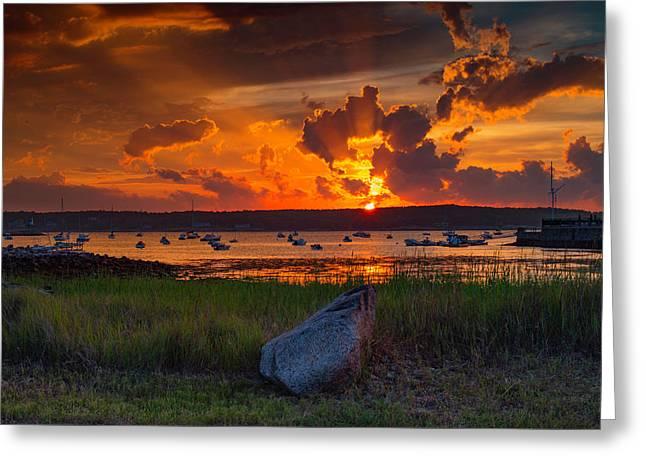 Gloucester Harbor Sunset Greeting Card
