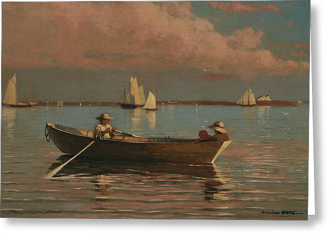Gloucester Harbor Greeting Card by Winslow Homer
