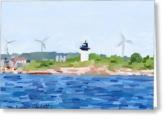 Gloucester Ma Skyline From Harbor Greeting Card