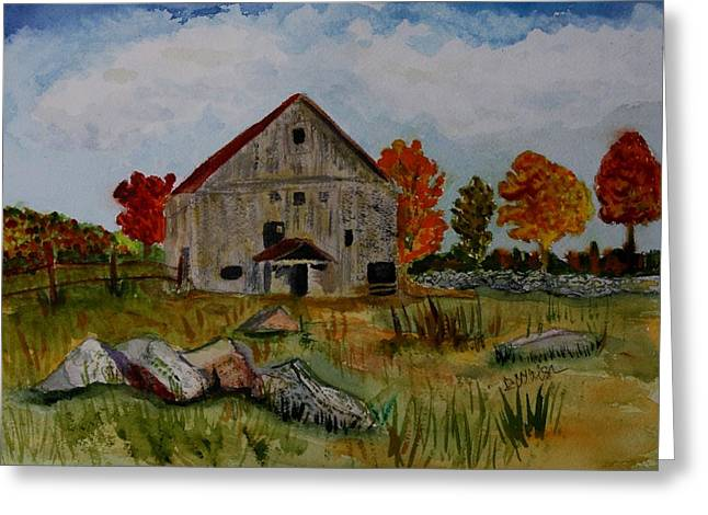 Greeting Card featuring the painting Glover Barn In Autumn by Donna Walsh