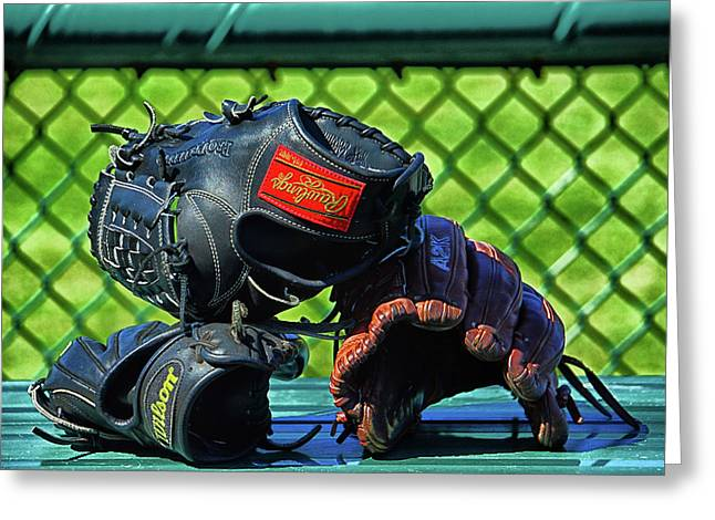 Gloves On Dugout Bench Greeting Card by Mike Martin