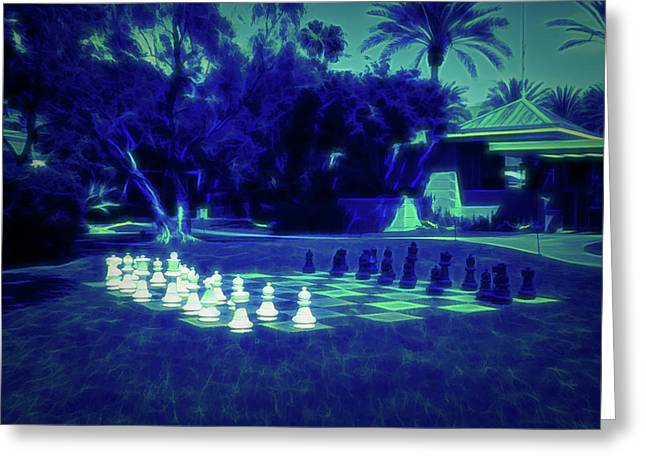 Greeting Card featuring the photograph Glow In The Dark Chess At The Biltmore by Aimee L Maher Photography and Art Visit ALMGallerydotcom