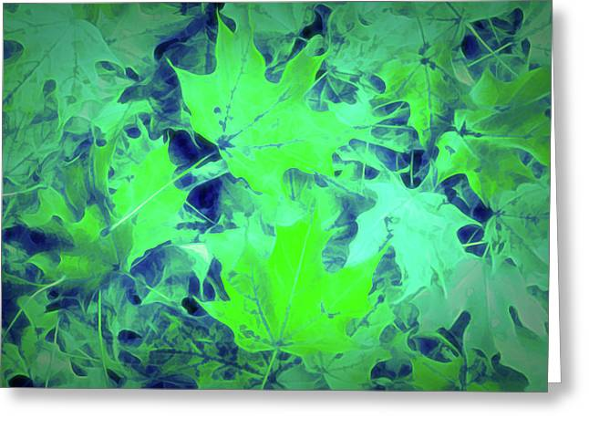 Glow In The Dark Green Leaves Greeting Card