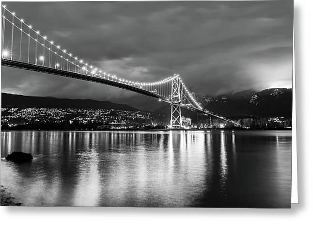 Glow Of The Bridge Greeting Card