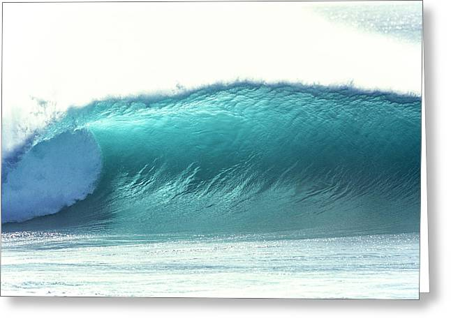 glowing aqua wave at Pipeline, north shore, Oahu, Hawaii,2004 Greeting Card by Sean Davey