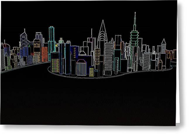 Glowing City Greeting Card