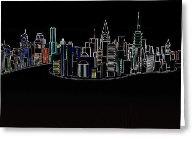 Glowing City Greeting Card