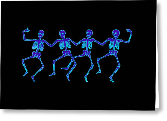 Greeting Card featuring the digital art Glowing Dancing Skeletons by Jennifer Hotai