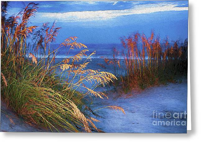 Greeting Card featuring the digital art Glowing Dunes Before Sunrise On The Outer Banks Ap by Dan Carmichael