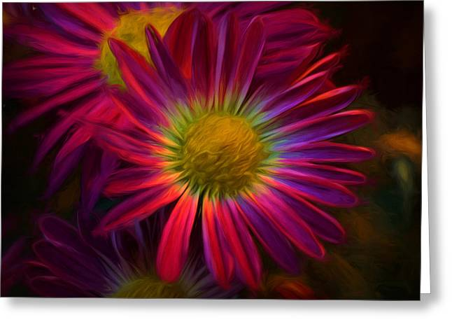 Glowing Eye Of Flower Greeting Card