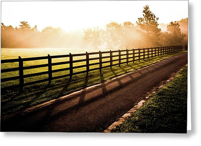 Greeting Card featuring the photograph Glowing Fog At Sunrise by Shelby Young