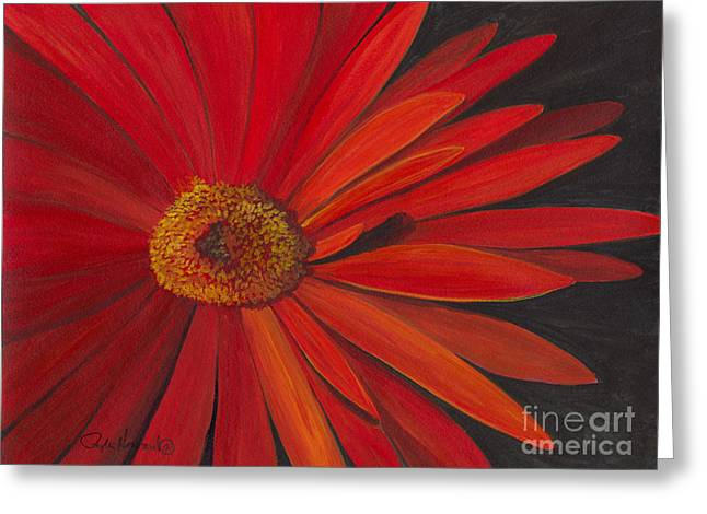 Greeting Card featuring the painting Glowing Gerber by Phyllis Howard