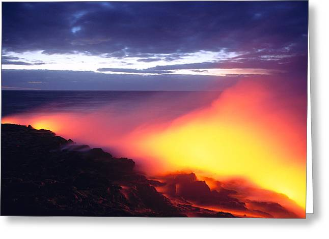 Glowing Lava Flow Greeting Card by William Waterfall - Printscapes