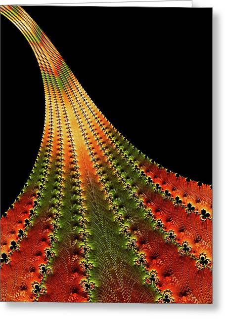 Glowing Leaf Of Autumn Abstract Greeting Card