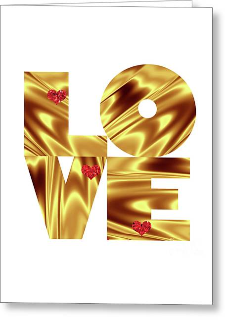 Glowing Love - Gold Red Greeting Card