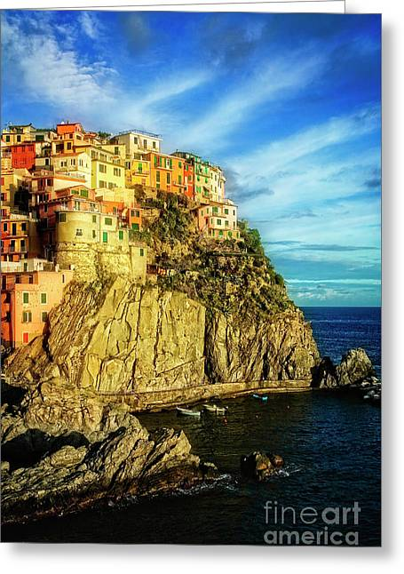 Greeting Card featuring the photograph Glowing Manarola by Scott Kemper