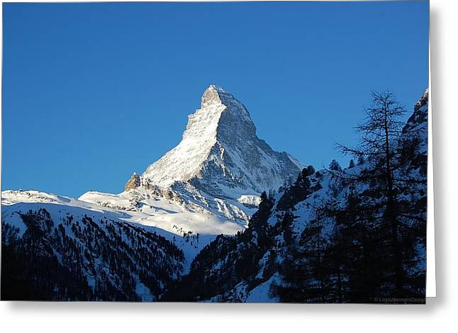 Glowing Matterhorn Greeting Card by Leslie Thabes