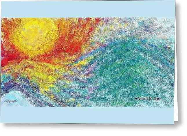 Glowing Sun Near Water Wave Greeting Card by Zulqarnain Jamal