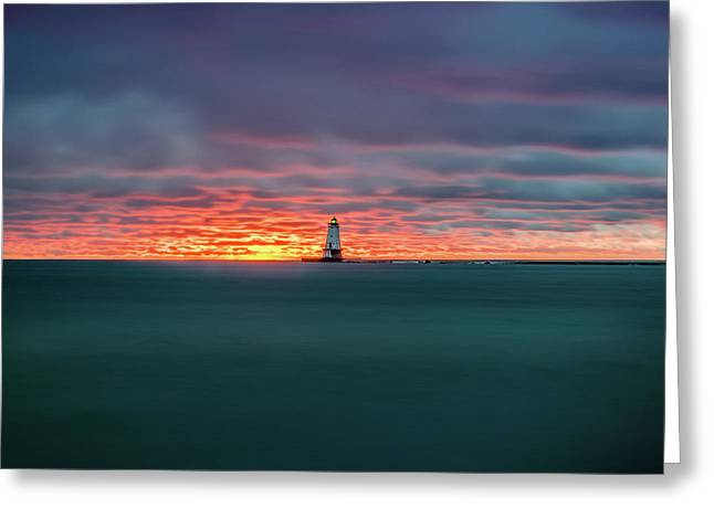 Glowing Sunset On Lake With Lighthouse Greeting Card