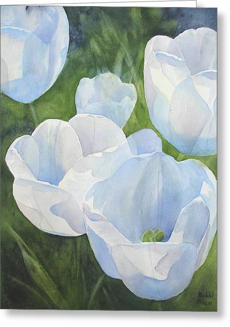 Glowing Tulips Greeting Card by Bobbi Price