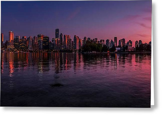 Glowing Vancouver Greeting Card by JR Photography