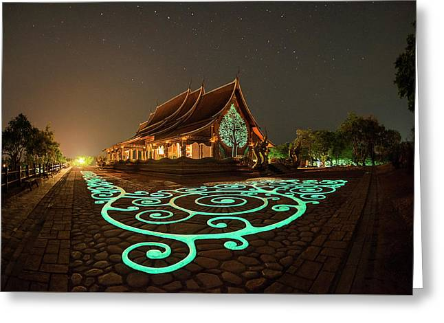 Glowing Wat Sirintorn Wararam Temple, Ubon Greeting Card