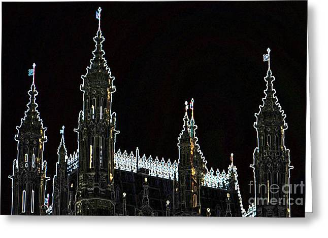 Glowing Westminster Abbey Greeting Card by Terri Creasy