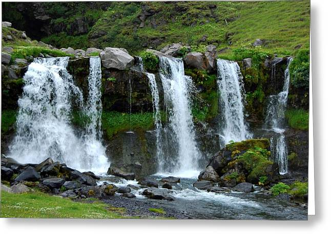 Greeting Card featuring the photograph Gluggafoss II by Marilynne Bull