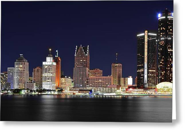 Gm Towers Over Detroit Greeting Card