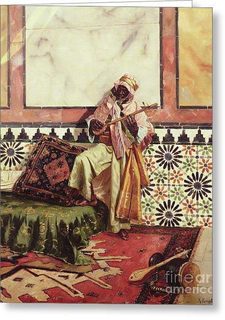 Gnaoua In A North African Interior Greeting Card by Rudolphe Ernst