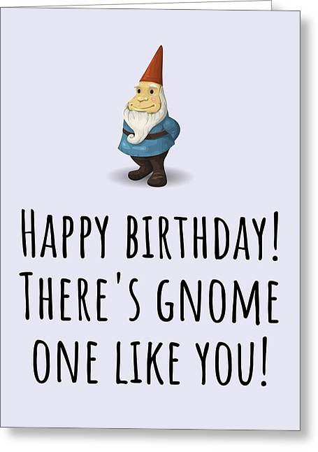 Gnome Birthday Card - Garden Gnome Birthday - There's Gnome One Like You Greeting Card
