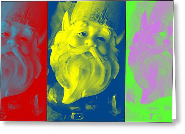 Gnomes In Crazy Color Greeting Card by Jennifer Coleman