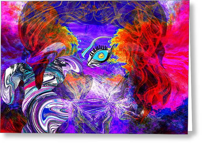 Go Ask Alice And The Mad Hatter Greeting Card by Abstract Angel Artist Stephen K