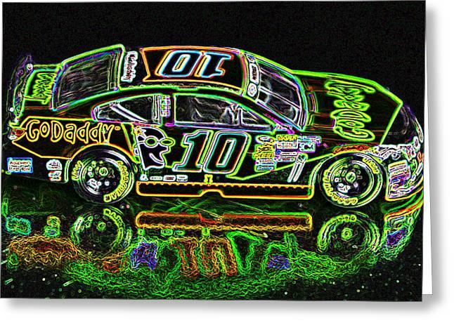 Go Daddy Racing Champion Neon Greeting Card