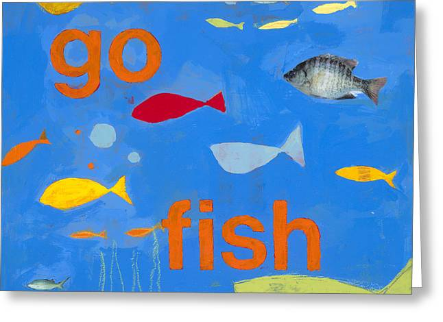 Fish Print Greeting Cards - Go Fish Greeting Card by Laurie Breen