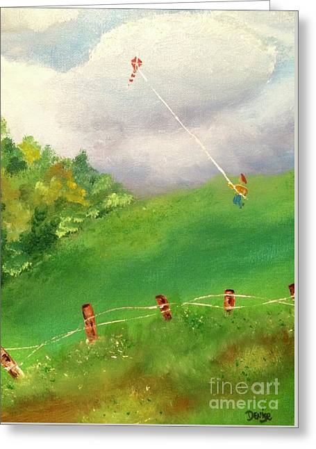 Greeting Card featuring the painting Go Fly A Kite by Denise Tomasura