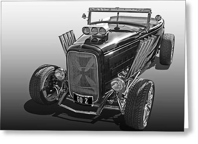 Go Hot Rod In Black And White Greeting Card by Gill Billington