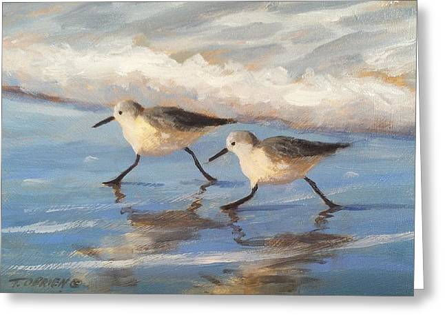 Go Sandpipers Greeting Card by Tina Obrien