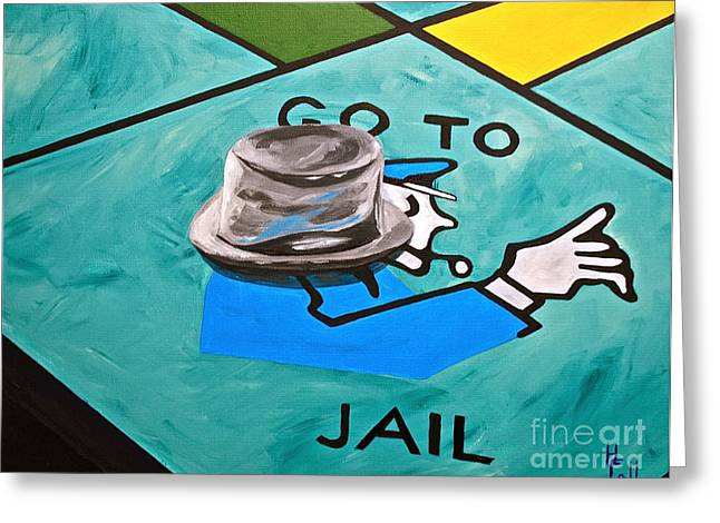 Monopoly Greeting Cards - Go to Jail  Greeting Card by Herschel Fall
