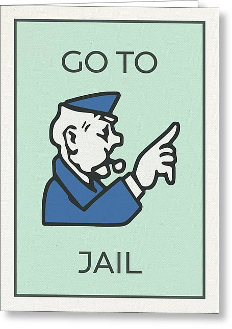 Go To Jail Vintage Monopoly Board Game Theme Card Greeting Card