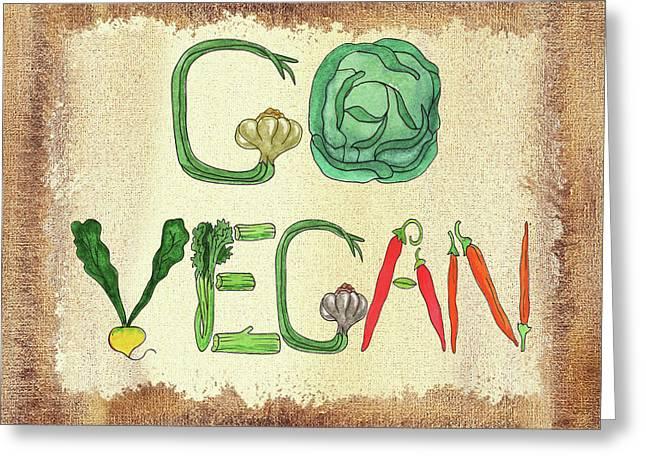 Go Vegan Watercolor Sign Greeting Card